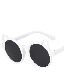 Fashion Real White And Full Gray Cat Ears Childrens Uv Protection Sunglasses