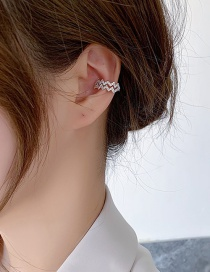 Fashion B Silver Color Double Wave Lightning Ripple Earrings