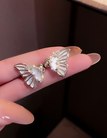 Fashion Silver Color Needle Gold Real Gold Plating Diamond Shell Butterfly Earrings