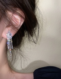 Fashion Silver Color Needle Diamond And Zircon Tassel Earrings