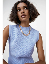 Fashion Blue Woven Pattern Knitted Vest