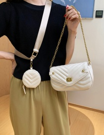 Fashion White Two-piece Textured One-shoulder Chain Crossbody Bag