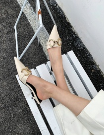Fashion White Candy-colored Pointed Toe With Stiletto Heel And Half Drag