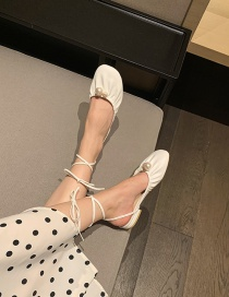 Fashion White Baotou Two Wear Flat Pearl Sandals And Slippers