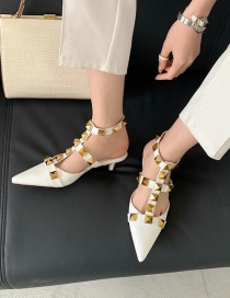 Fashion White Pointed Rivet Hollow Buckle Stiletto Heel Shoes