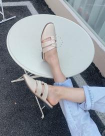 Fashion Apricot Square Toe Hollow Flat Half Slippers
