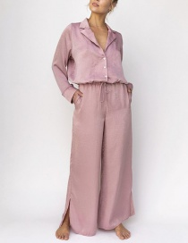 Fashion Light Pink Pink Shiny Loose Trousers