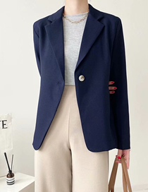 Fashion Navy Blue Loose One-button Suit Jacket