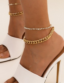 Fashion Gold Color Double Tassel Claw Chain Drill Anklet Set