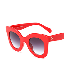 Fashion C5 Red/gradient Gray Large Frame Butterfly Sunglasses