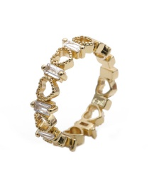 Fashion Gold Color Golden Zircon Heart Ring