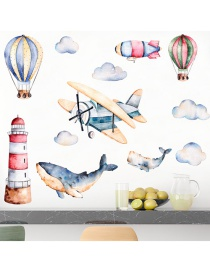 Fashion 25*70cm*2 Pieces Watercolor Airplane Shark Wall Sticker