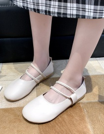 Fashion Beige Round-toe Shallow-mouthed Single-strap Shoes