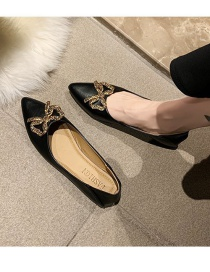 Fashion Black Rhinestone Pointed Toe Low Heel Flat Thick Heel Bow Shoes