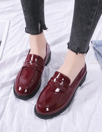 Fashion Red Patent Leather Flat Block Heel Shoes
