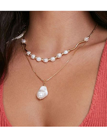 Fashion Golden Irregular Shaped Pearl Gold Double Necklace