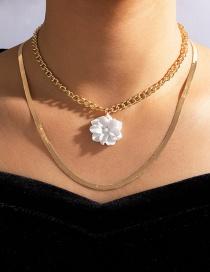 Collar De Aleación Multicapa De Flor Blanca