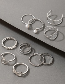 Fashion Silver Color Pearl 8 Wave Spray Cross 10-piece Ring