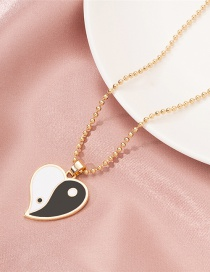Fashion Gold Color Heart Shaped Yin Yang Tai Chi Round Bead Necklace