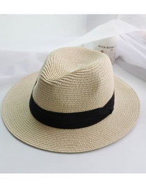 Fashion Beige Woven Wide-brimmed Straw Hat