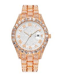 Fashion Rose Gold Gypsophila Water Diamond British Steel Band Watch