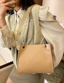 Fashion Khaki Large Capacity Shoulder Bag With Diagonal Hand Chain