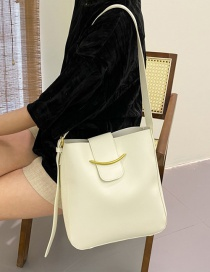 Fashion White Soft Leather Solid Color One-shoulder Large-capacity Crossbody Bag