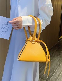 Fashion Yellow Triangle Zongzi Contrasting Color Stitching Shoulder Handbag