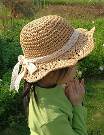 Fashion Khaki Hand-knitted Childrens Bow Sunscreen Straw Hat