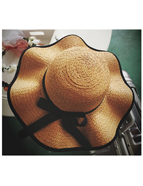 Fashion Khaki Bowknot Wavy Side Sunscreen Sunshade Large-edge Sun Hat