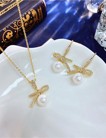 Fashion White Knotted Pearl Earrings Necklace