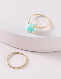 Fashion Green Two Fine Stone Ring Set