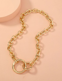 Fashion Golden Double Circle Necklace
