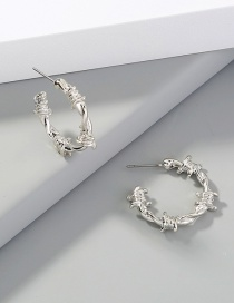 Fashion Silver Metal Knotted Thorn C-shaped Earrings
