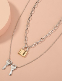 Fashion Golden Multi-layer Lock-shaped Metal Geometric Key Necklace