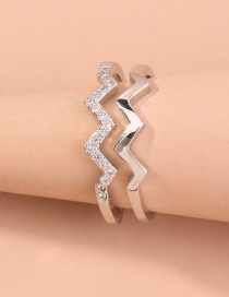 Fashion Silver Wave Double Diamond Ring