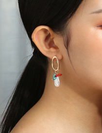 Fashion White Oval Cutout Turquoise Coral Stone Earrings