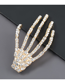 Fashion Golden Alloy Diamond Hand Brooch