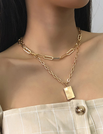 Fashion Golden Alloy Chain Square Brand Double Necklace