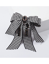 Fashion Black And White Geometric Bow And Diamond Hairpin