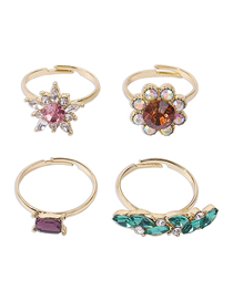 Fashion Golden Four-piece Color Diamond Ring