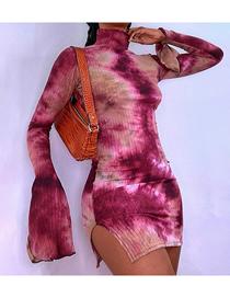 Fashion Rose Red Flared Sleeve High Slit Bag Hip Print Dress
