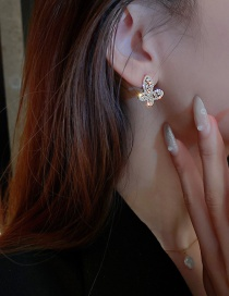 Fashion Silver Color Needle Gold Color Diamond Pearl Butterfly Stud Earrings