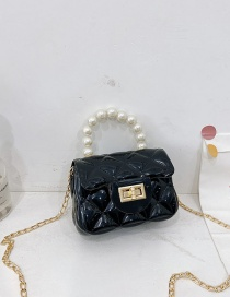 Fashion Black Childrens Jelly Color Rubber Pearl Portable Shoulder Bag