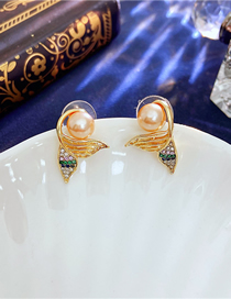 Fashion Gold Color Mermaid Tail Pearl Earrings