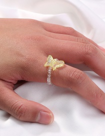 Fashion Gold Color Elastic Adjustable Resin Beaded Butterfly Ring
