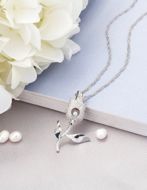 Fashion Silver Color Openable Pearl Rose Necklace