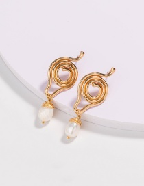 Fashion Gold Color Irregular Shape Freshwater Pearl Earrings