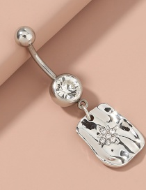 Fashion Silver Color Skylight Star Diamond-studded Stainless Steel Belly Button Ring