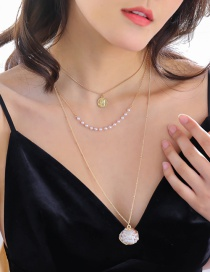 Fashion Shell + Human Head Shell Conch Pearl Multilayer Necklace